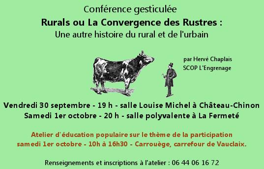 Conférence gesticulée «Rurals et la convergence des rustres» 30/9 et 1/10